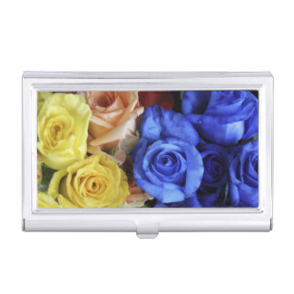 Assorted fresh rose bouquets business card case