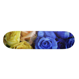 Assorted fresh rose bouquets skateboard