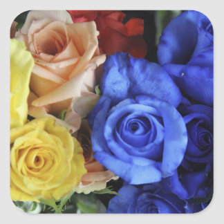 Assorted fresh rose bouquets square sticker