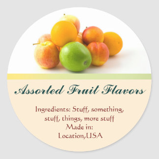 Assorted Fruit Flavor Labels Classic Round Sticker