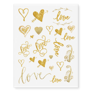 assorted gold foil love hearts temporary tattoos