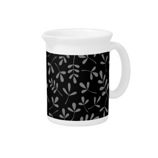 Assorted Gray Leaves on Black Pattern Drink Pitchers