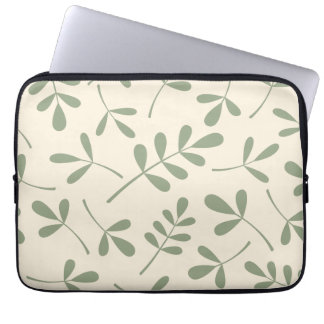 Assorted Green Leaves on Cream Design Computer Sleeve