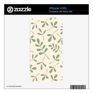 Assorted Green Leaves on Cream Design Skin For The iPhone 4