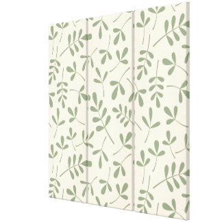Assorted Green Leaves on Cream Pattern Canvas Print
