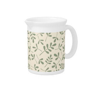 Assorted Green Leaves on Cream Pattern Drink Pitcher