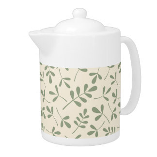 Assorted Green Leaves on Cream Pattern