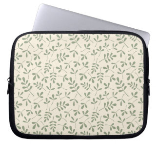 Assorted Green Leaves on Cream Repeat Pattern Computer Sleeve