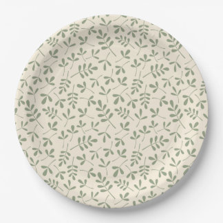 Assorted Green Leaves on Cream Repeat Pattern Paper Plate