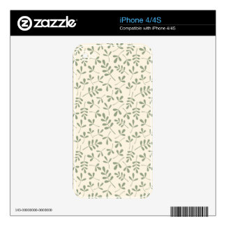 Assorted Green Leaves on Cream Repeat Pattern Skin For The iPhone 4S