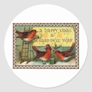 ASSORTED INTERNATIONS CHRISTMAS GREETINGS CLASSIC ROUND STICKER