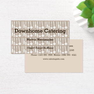 Assorted Kitchen Utensils on Brownish Gray Chef Business Card