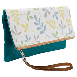 Assorted Leaves Big Ptn Blue Yellow Grn Grey White Clutch