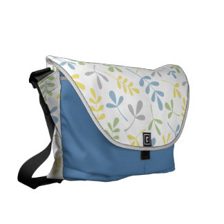 Assorted Leaves Big Ptn Blue Yellow Grn Grey White Messenger Bag