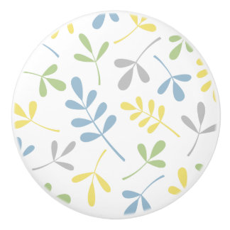 Assorted Leaves Blue Green Grey Yellow White Ceramic Knob