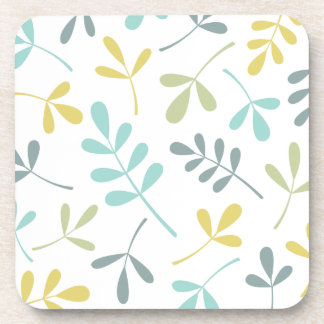 Assorted Leaves Color Mix on White Beverage Coaster