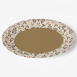 Assorted Leaves Cream Gold Brown Rpt Ptn Edge Paper Plate