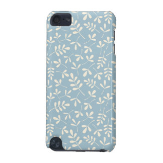 Assorted Leaves Cream on Blue Repeat Pattern iPod Touch (5th Generation) Cover