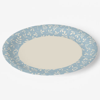 Assorted Leaves Cream on Blue Rpt Ptn Edge Paper Plate