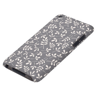 Assorted Leaves Cream on Grey Repeat Pattern Barely There iPod Cases