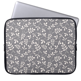 Assorted Leaves Cream on Grey Repeat Pattern Laptop Sleeve