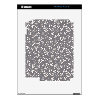 Assorted Leaves Cream on Grey Repeat Pattern Skins For The iPad 2