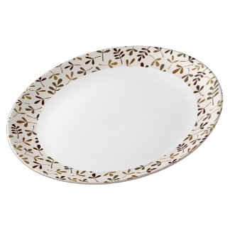 Assorted Leaves Crm Gld Brwns Rpt Ptn Edge & White Porcelain Plate
