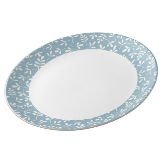 Assorted Leaves Crm on Blue Rpt Ptn Edge & White Dinner Plate