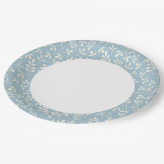 Assorted Leaves Crm on Blue Rpt Ptn Edge & White Paper Plate
