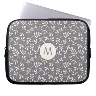 Assorted Leaves Crm on Grey Rpt Ptn (Personalized) Laptop Sleeve