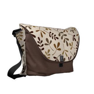 Assorted Leaves Gold Browns Cream Big Ptn Messenger Bag