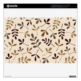 "Assorted Leaves Gold Browns Cream Pattern 11"" MacBook Air Skins"