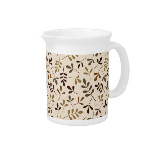 Assorted Leaves Gold Browns Cream Pattern Drink Pitcher
