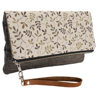 Assorted Leaves Gold Browns Cream Ptn Clutch