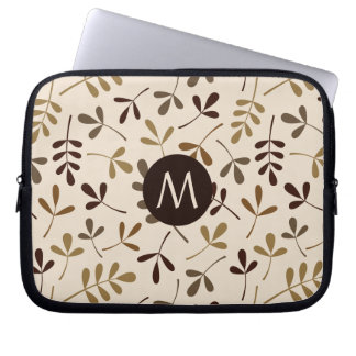 Assorted Leaves Gold Browns Crm Ptn (Personalised) Laptop Sleeve