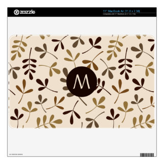 Assorted Leaves Gold Browns Crm Ptn (Personalized) Skins For MacBook