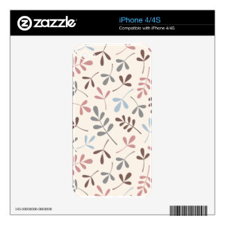 Assorted Leaves Grey Taupe Blue Pink Crm Ptn iPhone 4S Decal
