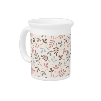 Assorted Leaves Grey Taupe Blue Pink Crm Ptn Pitcher