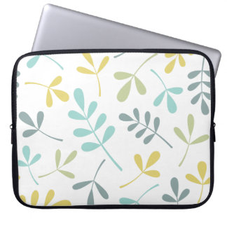 Assorted Leaves Lg Pattern Color Mix on White Laptop Sleeve
