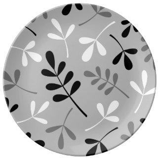 Assorted Leaves Monochrome Design Dinner Plate