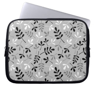 Assorted Leaves Monochrome Pattern Laptop Sleeve