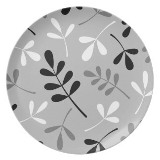 Assorted Leaves Monochrome Pattern Plate