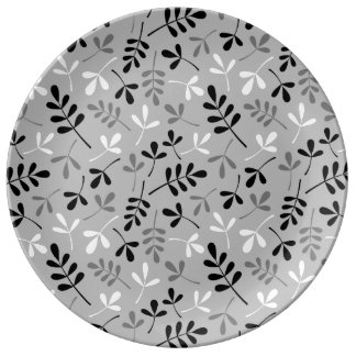 Assorted Leaves Monochrome Repeat Pattern Dinner Plate