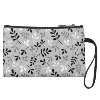 Assorted Leaves Monochrome Repeat Pattern Suede Wristlet Wallet