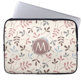 Assorted Leaves Pastel Colors Ptn (Personalized) Laptop Sleeve