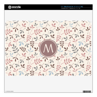 """Assorted Leaves Pastel Cols Rpt Ptn (Personalized) 11"""" MacBook Air Decal"""