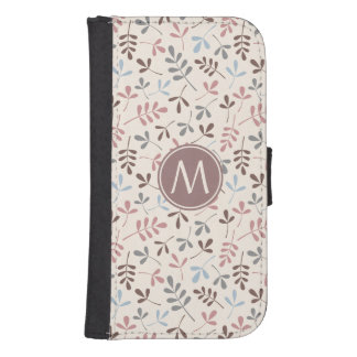 Assorted Leaves Pastel Cols Rpt Ptn (Personalized) Galaxy S4 Wallet Case
