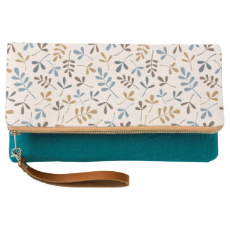 Assorted Leaves Pattern Blues Brown Gold Cream Clutch