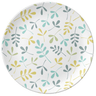 Assorted Leaves Pattern Color Mix on White Dinner Plate
