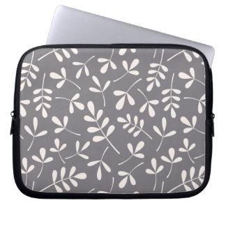Assorted Leaves Pattern Cream on Grey Laptop Sleeve
